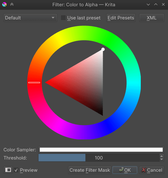 Color to alpha dialog box.