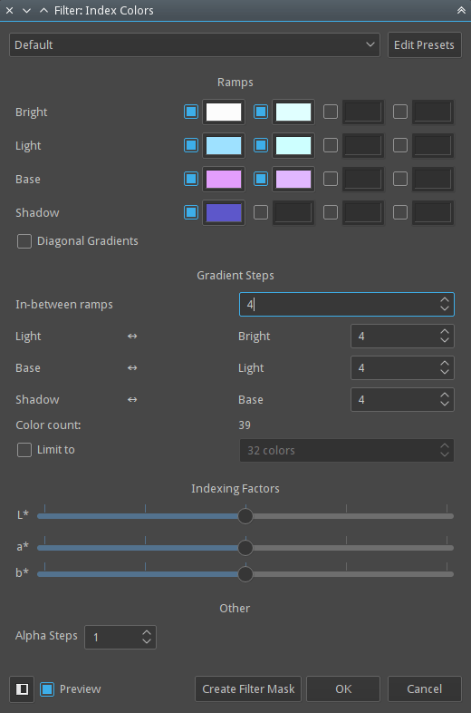 Index color filter dialog.