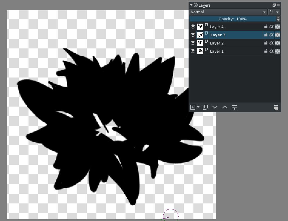 Animated brush tips isolated layers.