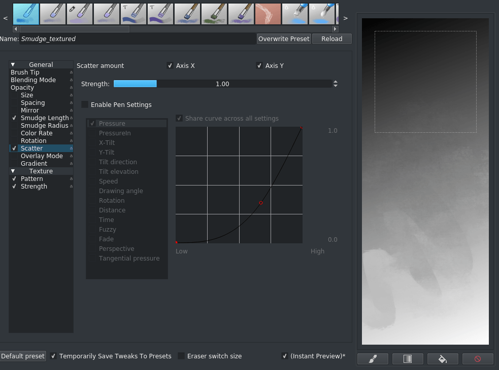 Krita bokeh brush tips scatter settings.