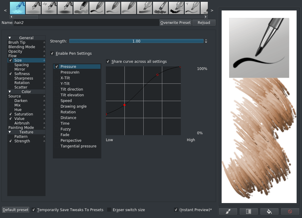 brush setting dialog for fur brush