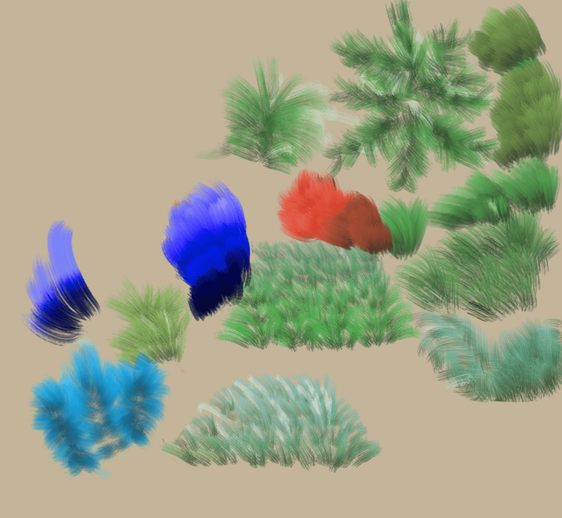 Using the fur brush to make grass and hair.