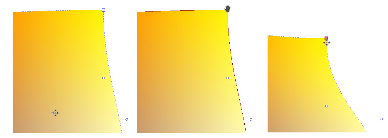 Left to right: Normal, Corner Hovered, Corner Moved and Selected.