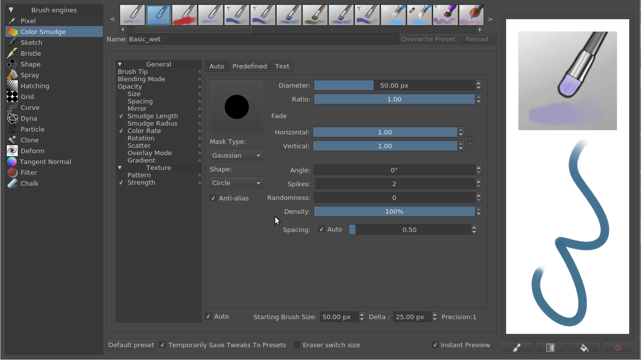 brush setting dialog to get started