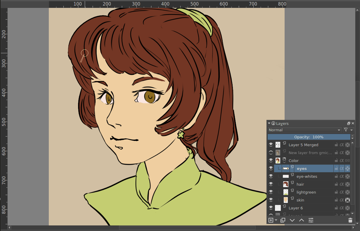 An image with line art and a layer for each flat of color.
