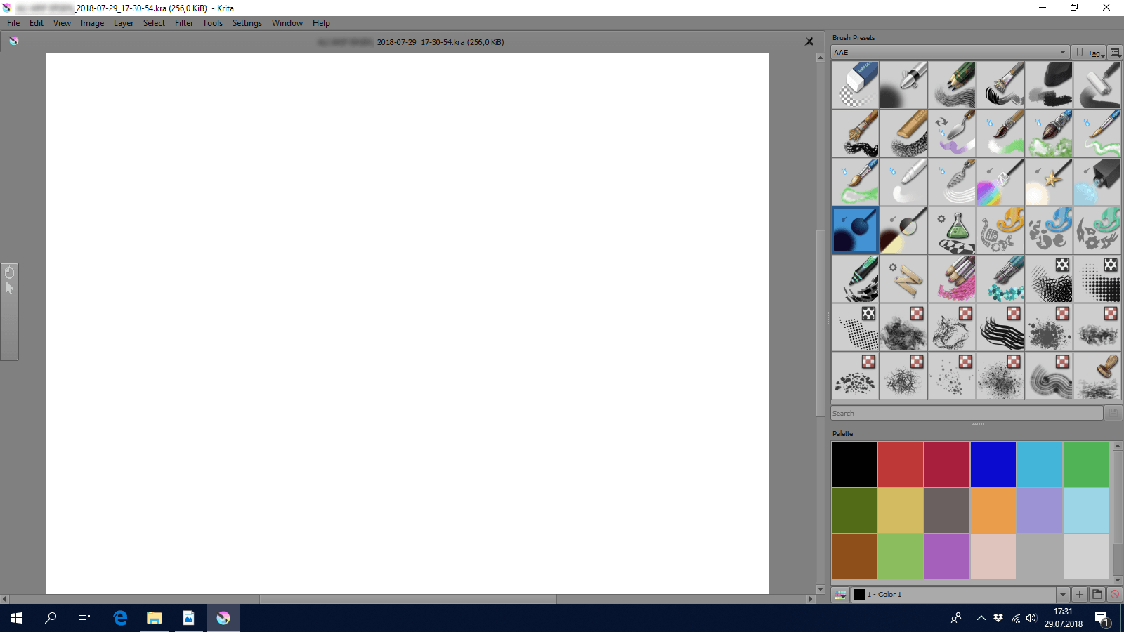 Screenshot of Krita when used with an eye tracker.