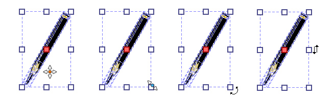 Left to right: Placement, Scale, Angle and Distortion.